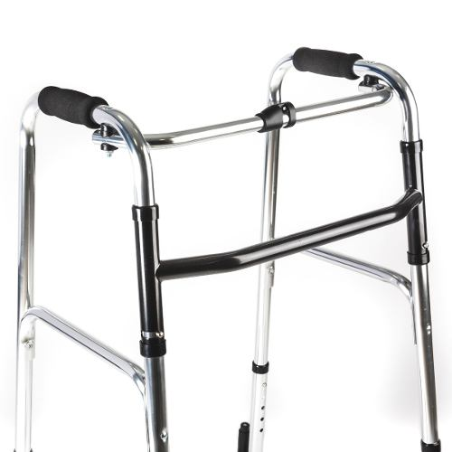 Andador ortopédico plegable con ruedas en 4 apoyos