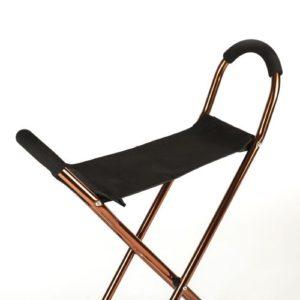 Bastón ortopédico cuádruple con asiento